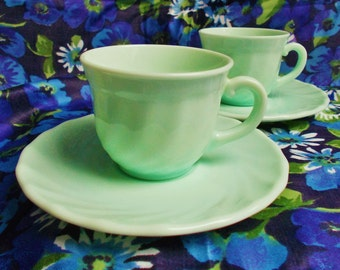 Retro pair of Demi Tasse Cups and Saucers - Swirl in Peppermint by Arcopal in France - 1970's - used