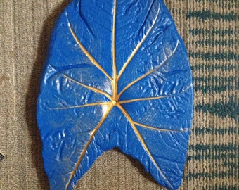 Royal Blue with Gold Accent Colocasia Concrete Leaf