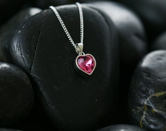 Sweet Hearts Swarovski rose crystal necklace and pendant set in a rhodium finish