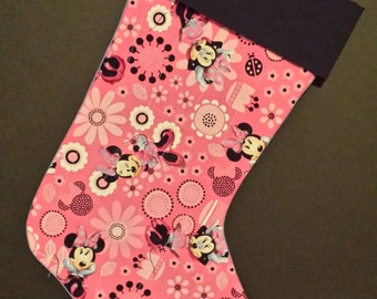 Minnie Mouse Disney Christmas Stocking With A Black Cuff