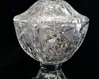 Vintage Glass Candy Dish ornate cut glass with lid (appears to be leaded crystal)