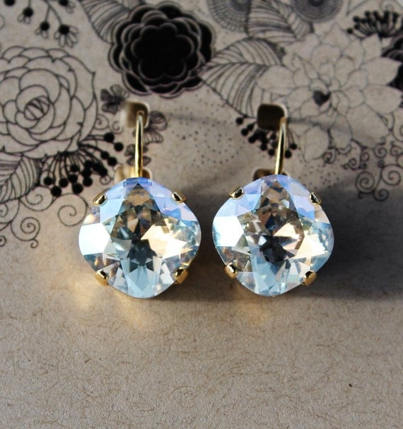12mm Cushion Cut Swarovski Crystal Earrings in dazzling Moonlight