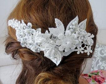 Wedding hair piece, bridal hair piece, bridal head piece, bridal lace hairpiece, wedding hair accessory, boho headpiece, lace headpiece