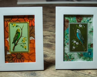 Set of Handmade Upcycled Vintage Budgie Prints Mounted on Vintage Fabric