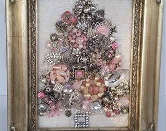 Jewelry Art, Vintage Jewelry art, Framed jewelry art, jewelry art framed, silver, pink, Sale