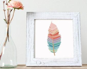 Boho Baby Room Feather- Blush Nursery Decor, Baby Girl Nursery Feather Print, Tribal Baby Girl Print, Baby Girl Boho Nursery Print, Pink