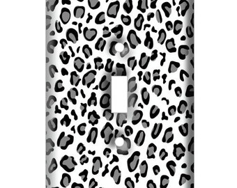 Black and White Cheetah Print - Decorative Light Switch Cover - Single Toggle Switch Plate Cover