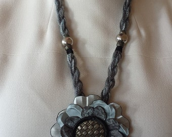 Gray Flower set (earrings, a bracelet and a necklace)