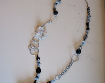 wire-wrapped sea shell long necklace