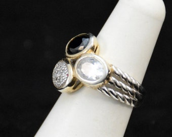 Sterling Silver / Gold Plated Black Onyx / Crystal Ring       J256
