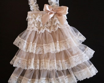 Rustic Flower Girl Dress , Country Flower Girl Dress , Baby Girl Vintage Dress , Champagne Lace Ruffle Dress ,Toddler Cream Lace Dress