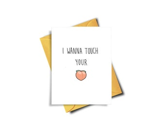 Funny Card For Husband, Touch Your Butt, Birthday Card For Boyfriend, Valentines Card, Funny Valentines Day Card, Peach Emoji Card, Peach