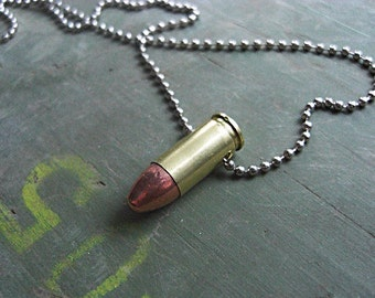 Real Bullet Necklace - 9mm bullet - Handmade Bullet Necklace - Handmade Bullet Jewelry - with ball chain necklace