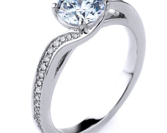 Beautiful Contemporary 14k Gold Diamond Engagement Ring