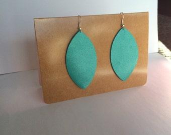 Hand made leather leaf earrings