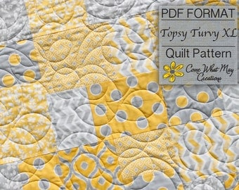 Fat Quarter Quilt Pattern, Baby Quilt Pattern, Lap Quilt Pattern, PDF Pattern, Topsy Turvy, Beginner Quilt Pattern, Easy Quilt Pattern