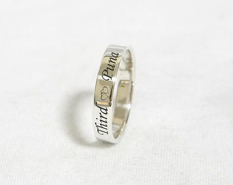 Stackable Name Ring, 3 mm Wide Personalized Stacking Rings, Name Ring, Stackable Ring, Personalized Ring, Mothers Ring, 925 Sterling Silver