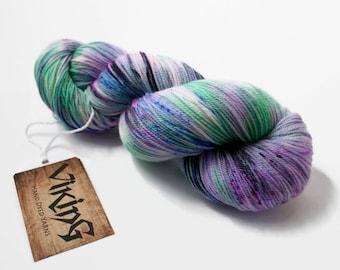 Hand Dyed Yarn - Hand Dyed Sock Yarn - Superwash Merino Wool, Cashmere & Nylon, hand dyed in 'Interstellar'