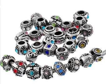 10 Pieces Mixed Antique Silver Rhinestone European Spacer Beads 10mm x 6mm - 11mm x 11mm For Jewelry Making Wholesale Lot Famous Bracelet