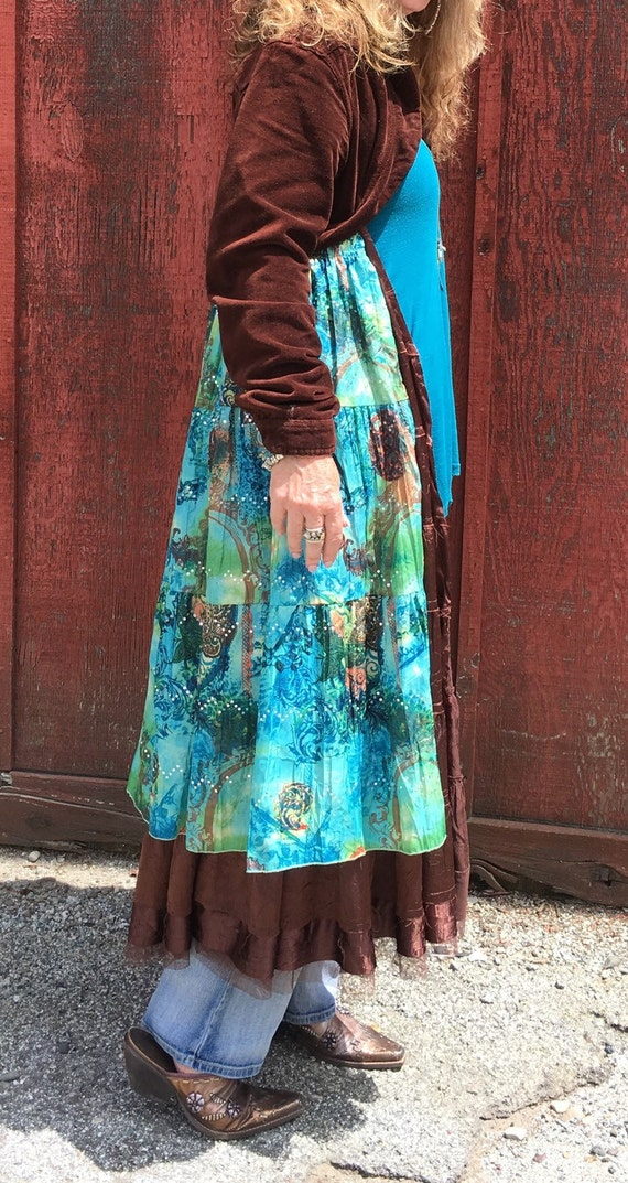Cowgirl Boho Duster with Cropped Brown Velvet Jacket Top and