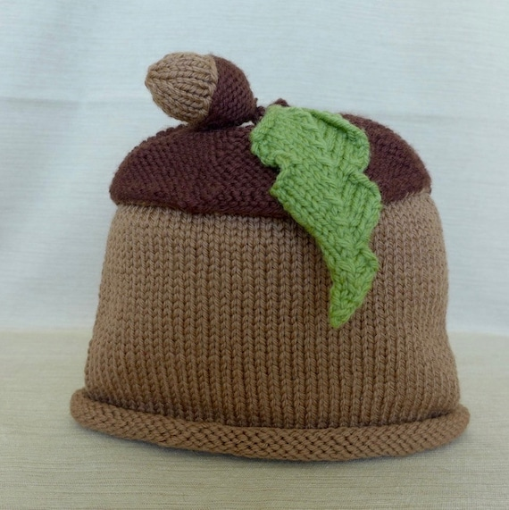 Knitting Pattern For Acorn Hat : Hand-Knit Acorn Unisex Baby Hat