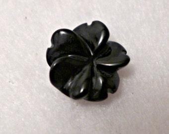 6 Czech glass buttons - black - 15mm