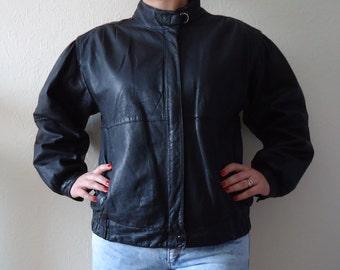 Vintage 80s Leather Bomber Jacket Black Leather Jacket Womens Leather Jacket Genuine Leather Jacket Biker Jacket Rocker Jacket Size Medium