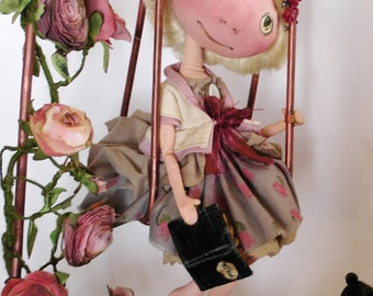 "DISCOUNT!!The price of the doll 20% less!Fabric dollComposition""The doll on the swings""Interior doll OOAK Doll compositionArt dollCloth doll"