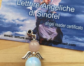 Amulet Angel opalite and Rose Quartz for love