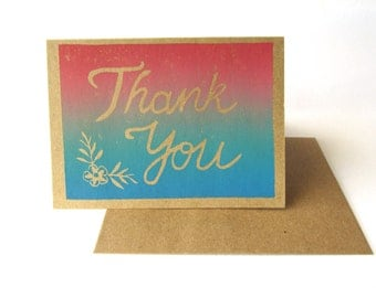 Handmade Thank You Card, Floral Multicolour Appreciation Card, Printmaking Card, Kraft Paper Pink Blue Ink, Hand Printed, Linoprint Design