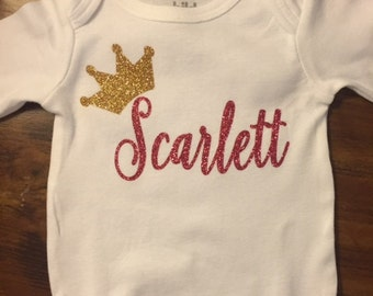 Custom Girl Onesie with Crown