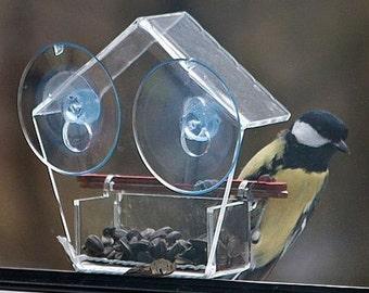 Clear Acrylic Bird Feeder, Window Mount Bird Feeder, Charming Clear Bird Feeder for Small Birds