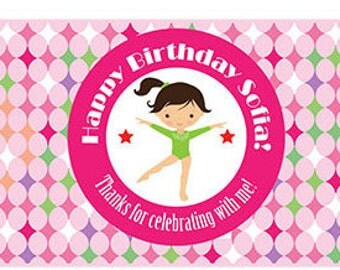 Printable Personalized birthday party gymnastic for water bottle