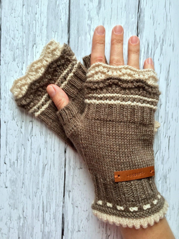 Neutral Brown Fingerless Mittens Gloves Womens Mitts Gloves