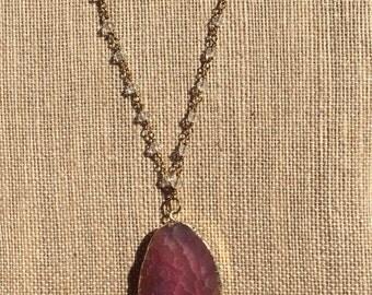 Long Tassel & Druzy Agate Stone Necklace
