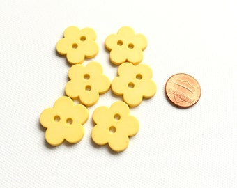 Yellow Flower Button, Yellow Button, 25 mm, 1 inch, 2 Hole, Sewing Supplies, Notions