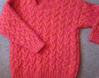 Unique luxury, supersoft, furry, hand knitted plait cable jumper