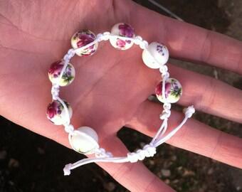 White Beaded Macrame Bracelet