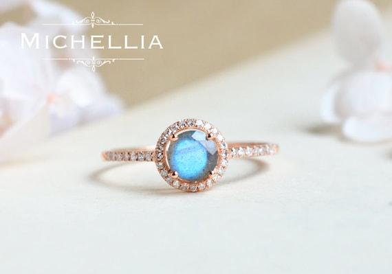 14k 18k Labradorite Engagement Ring With Halo Diamond Galaxy