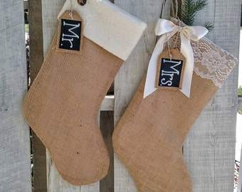 Mr. and Mrs. Burlap Stocking Set, Christmas Stockings, Rustic Christmas Stockings, Christmas Wedding Gift, Holiday Couple Gift, Unique  Gift
