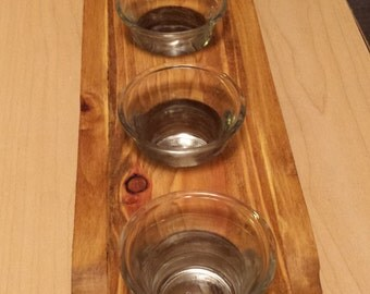 Reclaimed Wood Candle Holder with Glass Holders, Rustic Wood, Votive Candle Holder