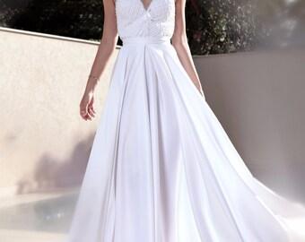 White wedding dress,wedding dress open back,lace wedding dress,wedding gown,wedding dress,Wedding dress with pockets