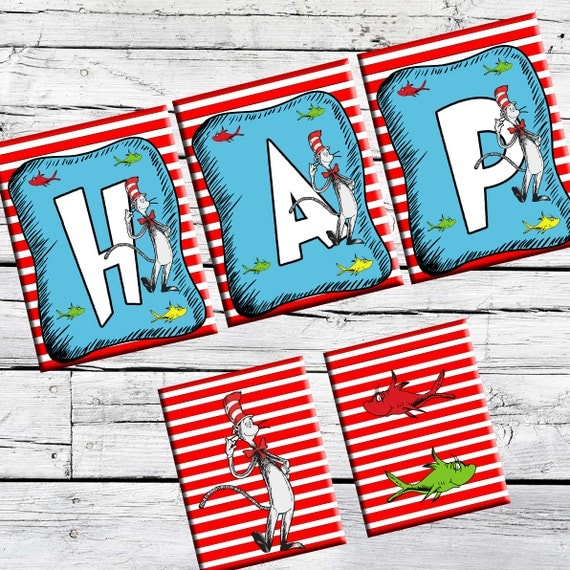 Cat Birthday Banner: Dr.Seuss BannerCat In The Hat Banner-Printable By