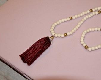 Maroon Tassel Necklace