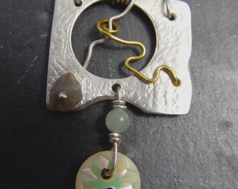 Sterling Silver Vintage Button Pendant