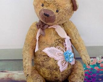 Artist Teddy Bear Debbie-Art Teddy Bear-Teddy Bear-Textile Teddy Bear-Doll-Dollhouse-Dolls&Miniatures-Art Collectibles