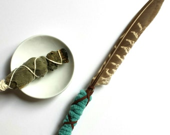 Smudge Feather Teal and Natural Goose Feather Hemlock Wand