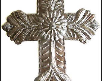 "Metal Cross Wall Hanging - Christian Cross Wall Decor - 12"" Cross Wall Art, Metal Art - Christian Wall Art - Metal Wall Art - W-125-12"