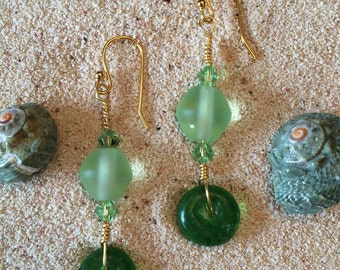 Sea Green Beach Glass Swarovski Crystal Gold Plated Earrings