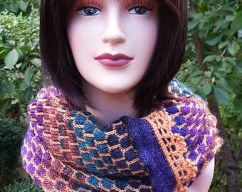 Hand Knit Infinity Scarf. Unique Winter Scarf. Circle Scarf. Multicolored Scarf. Gift for her